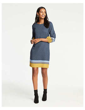 Tall Scarf Print Lantern Sleeve Shift Dress by Ann Taylor