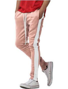 Mens Track Pants Striped Joggers Sweatpants Slim Fit Zipper Two Tone Drawstring by Ma Croix