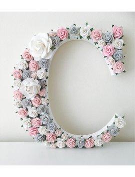 Pink Grey Wall Art, Pink Grey Nursery Decor,  Pink Grey Decor, Wall Art, Nursery Wall Art, Flower Letter, Pink Grey Flower Letter by Etsy
