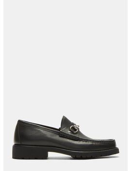 Vegas Horsebit Leather Loafers In Black by Gucci