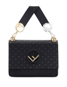 Kan I Logo Seal Studded Leather Shoulder Bag by Fendi