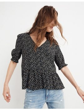 Petite Courtyard Ruffle Hem Top In Playground Posies by Madewell