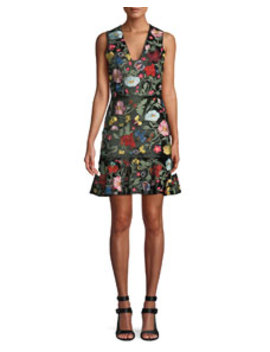 Peyton V Neck Sleeveless Floral Embroidered Velvet Day Dress by Alice + Olivia