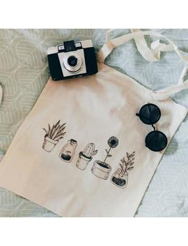 Cotton Canvas Tote Bag Cheap All Cactus Plants Black And White by Etsy