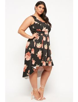 Plus Size Fit & Flare Floral High Low Dress by Forever 21