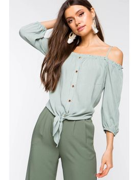 Button Front Cold Shoulder Top by A'gaci