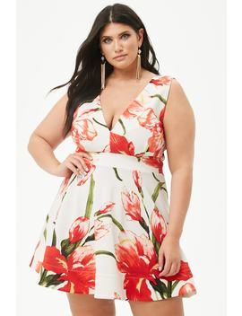 Plus Size Floral Print Fit & Flare Dress by Forever 21