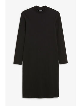 Stretchy Low Turtleneck Dress by Monki