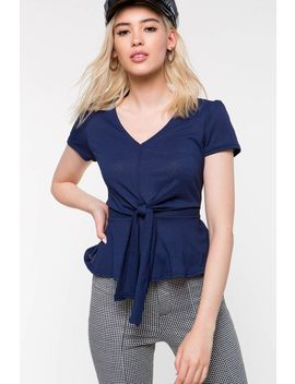 Knot Front Peplum by A'gaci