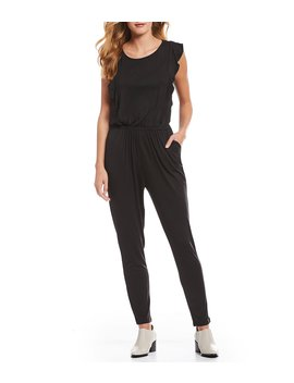 Carlina Statement Shoulder Ruffle Knit Jumpsuit by Cupcakes & Cashmere