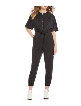 Pin Stripe Button Front Tie Waist Ankle Length Jumpsuit by A Loves A