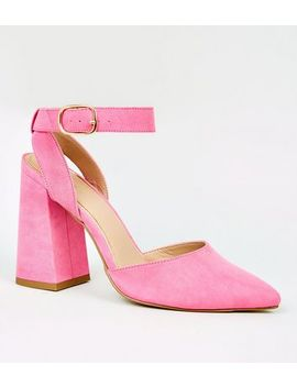 Bright Pink Suedette Ankle Strap Heel Courts by New Look