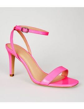 Wide Fit Bright Pink Patent 2 Part Heeled Sandals by New Look