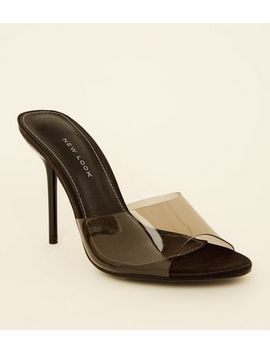 Black Clear Strap Stiletto Mules by New Look