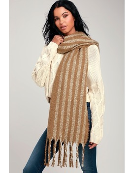 Merope Light Brown Striped Oversized Scarf by Lulus