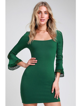 Charismatic Dark Green Flounce Sleeve Bodycon Mini Dress by Lulus