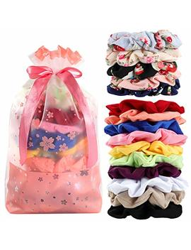 Hair Scrunchies Cotton Elastic Hair Bands 15 Pcs Scrunchies For Hair Accessories For Women Or Girls by New Live