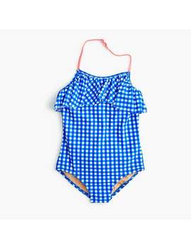 Girls' Ruffled One Piece Swimsuit In Gingham by J.Crew