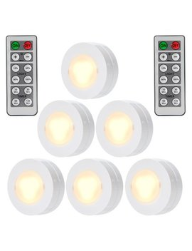 Wireless Led Puck Lights With Remote Control, Battery Powered Dimmable Kitchen Under Cabinet Lighting 6 Pack by Leading Star