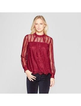 Women's Long Sleeve High Neck Lace Top   Xhilaration™ by Xhilaration