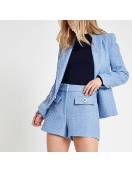 Blue Button Detail Shorts                                    Light Blue Boucle Cropped Blazer by River Island