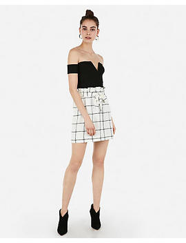 High Waisted Windowpane Sash Tie Waist Midthigh Skirt by Express