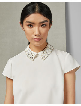 Embellished Collar Cap Sleeve Top by Ted Baker