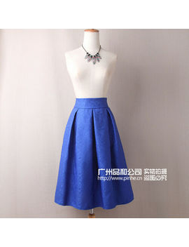Ladies Retro Jacquard Pompom Skirt Solid Color In Long Skirt Party Wedding by Unbranded
