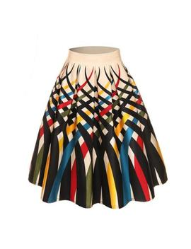European And American Women Style Vintage Print Hepburn Type Skirt Bubble Skirt by Unbranded