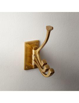 Brass 3 Prong Swivel Towel Hook by Crate&Barrel