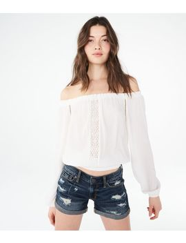Long Sleeve Lace Inset Off The Shoulder Top by Aeropostale
