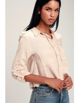 Mirabel Beige Button Up Raw Hem Crop Top by Lulus