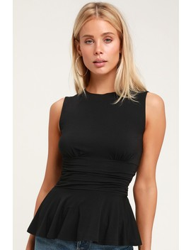 Lauren Black Sleeveless Peplum Top by Honey Punch