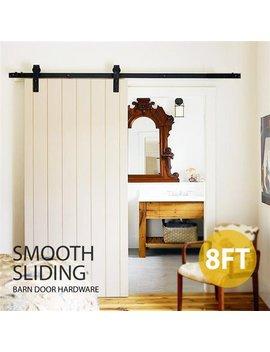 Topeakmart 8 Ft Sliding Barn Door Hardware Kit Set Antique Style Single Closet Wood Track System Black by Topeakmart
