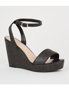 Wide Fit Black Woven Straw Effect Wedge Heels by New Look