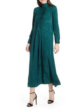 Jacquard Pintuck Satin Midi Dress by Topshop