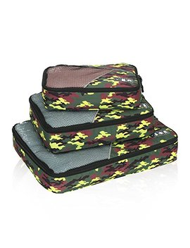 Hynes Eagle Travel Packing Cubes 3 Pieces Value Set Green Camo by Hynes Eagle