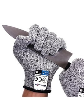 Dowellife Cut Resistant Gloves Food Grade Level 5 Protection, Safety Kitchen Cuts Gloves For Oyster Shucking, Fish Fillet Processing, Mandolin Slicing, Meat Cutting And Wood Carving, 1 Pair (Large) by Dowellife