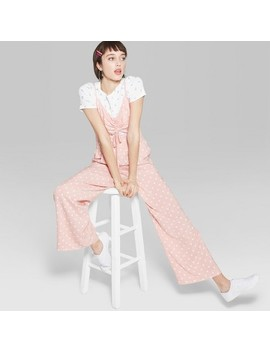 Women's Polka Dot Strappy Ruched Front Cutout Jumpsuit   Wild Fable™ Light Pink by Wild Fable