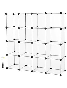 Songmics Cube Storage, Plastic Cube Organizer Units, Diy Modular Closet Cabinet, Bookcase Included Anti Toppling Fittings And Rubber Hammer White Translucent 16 Cube Ulpc44 L by Songmics