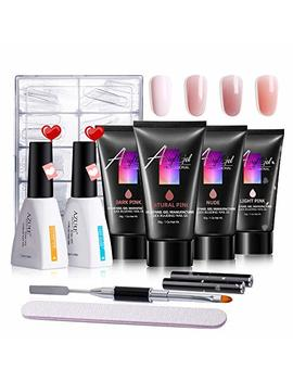 Azurebeauty Poly Nail Gel Kit   30ml/4pcs Gel Poly Nail Enhancement Builder Gel Nail Extension Poly Nail Gel Trial Kit For Starter And Professional Nail Technician All In One Kit by Azurebeauty