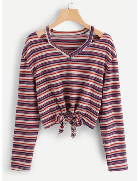 Cut Out Shoulder Striped Crop Tee by Romwe