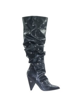 Jean7 By Cape Robbin, Retro Disco Shimmering Glitter Embellished Cone Heel Knee High Dress Boot by Cape Robbin