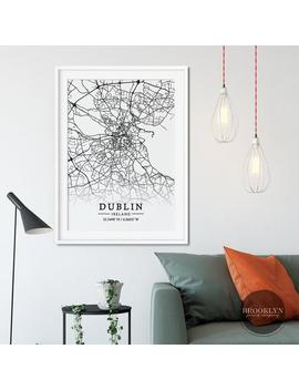Dublin City Map Street Grid Poster Print, Ireland Map Print, Skyline Cityscape Art, Vintage Travel Poster, Not Framed by Etsy