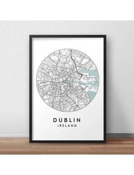 Dublin City Print, Street Map Art, Dublin Map Poster, Dublin Map Print, City Map Wall Art, Dublin Map, Travel Poster, Ireland, Map Print by Etsy