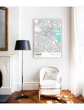 Dublin City Map Print, Scandinavian Style Map Print, Custom Map Print, Housewarming, Graduation Gift, Map Print, Street Map, Wall Art by Etsy