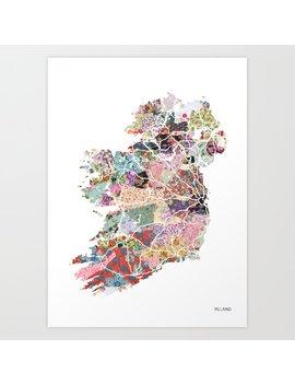 Ireland Map Art Print by