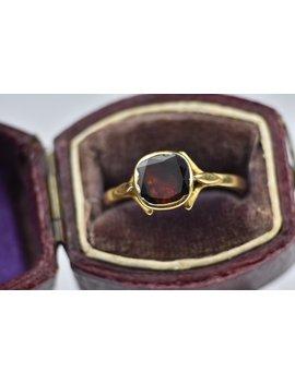 Sale   Vintage 18k Yellow Gold Georgian Style Closed Back Flat Cut Garnet Ring by Etsy