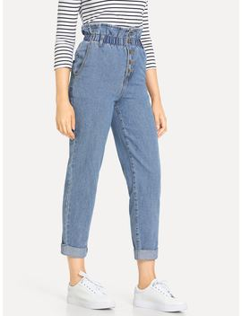 Paperbag Waist Button Fly Jeans by Romwe