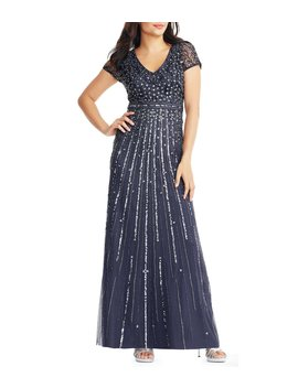 Short Sleeve V Neck Beaded Bodice Gown by Adrianna Papell